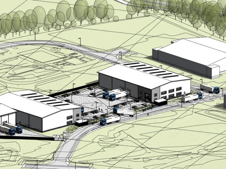 G4473 Fareham Industrial Units 3D View Aerial View looking East, Plot F